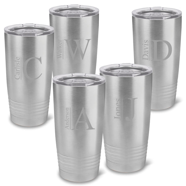 Monogrammed Húsavík Stainless Silver 20 oz. Double Wall Insulated Tumblers Set of 5