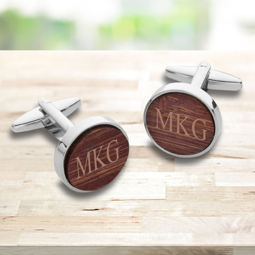 Personalized Wooden Walnut Cufflinks - Gift for Men - Groomsmen