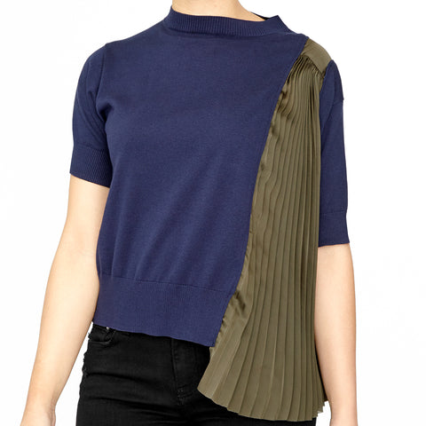 Knit Tee w/ Pleated Panel