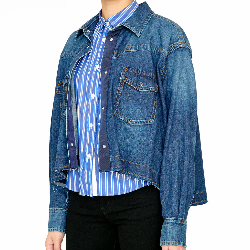 Cropped Denim Shirt-Jacket