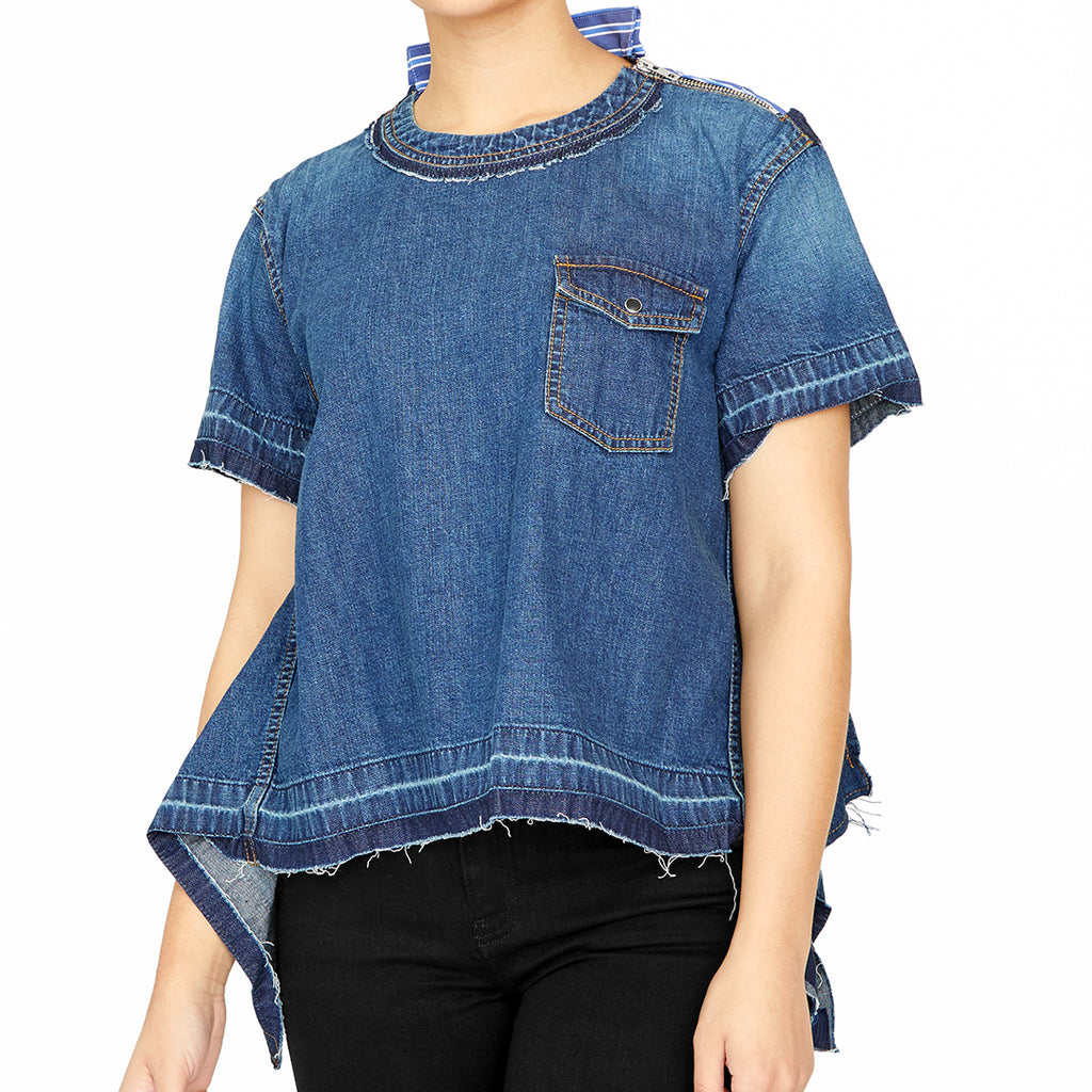 Hybrid Denim Short-Sleeved Top