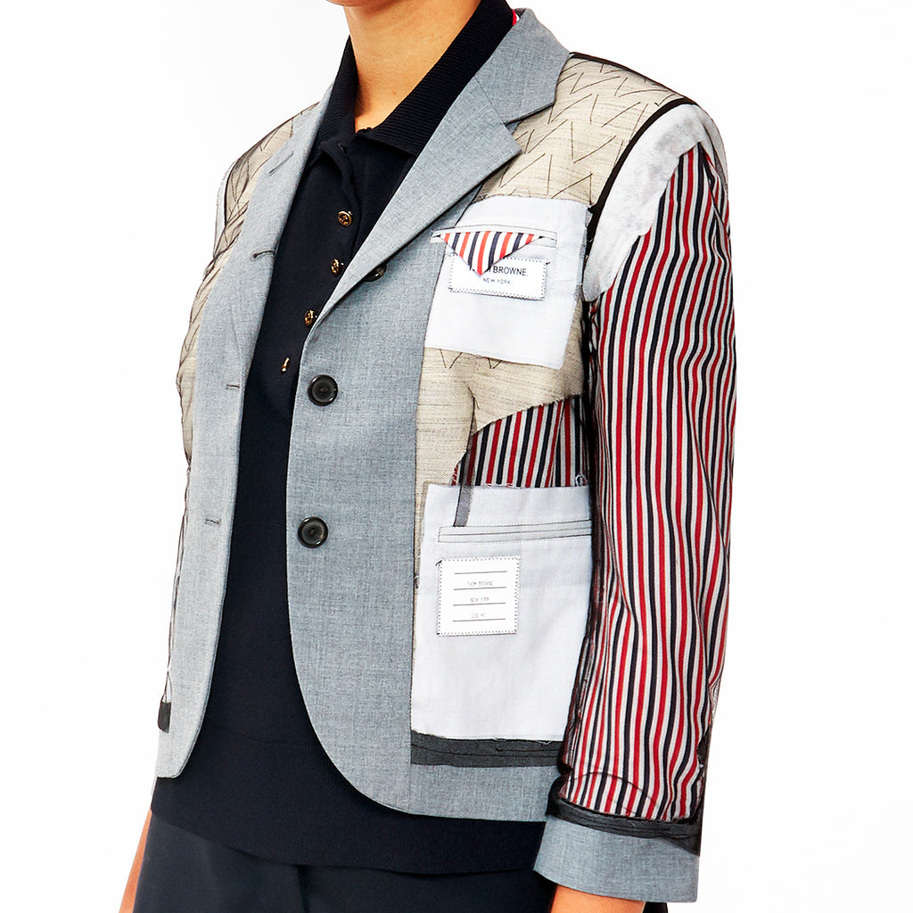 Riccardi Thom Browne Inside Out Tulle Exposed Stripes Striped Lining Basting Stitches Stitched Stitching Canvas Canvassing Blazer