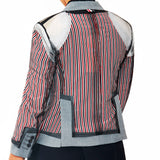 Riccardi Thom Browne Inside Out Tulle Exposed Stripes Striped Lining Basting Stitches Stitched Stitching Canvas Canvassing Blazer back