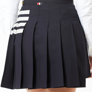 Pleated Mini Skirt w/ Stripes