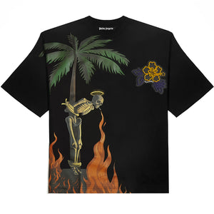 Riccardi Palm Angels Burning Flaming Flames Fire Skeleton Rubberized Rubber Flower Floral Logo Patch Stamp Tee