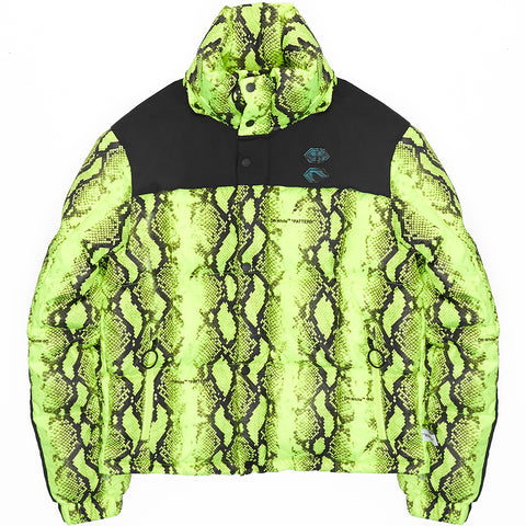Python-Patterned Puffer Coat