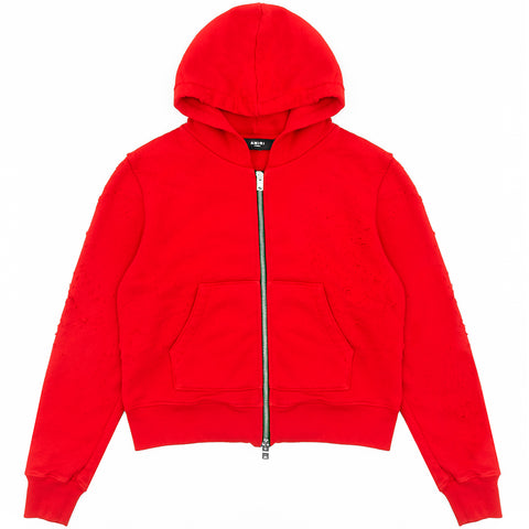 Riccardi Mike Amiri Shotgun Distressed Zip Hoodie Hoody Hooded Sweatshirt Red