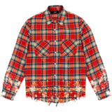 Riccardi Mike Amiri Distressed Paint Splatter Splattered Plaid Shirt