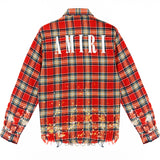 Riccardi Mike Amiri Distressed Paint Splatter Splattered Plaid Shirt back
