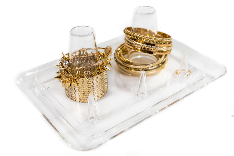 Clear Acrylic Bangle Stacker Jewelry Organizing Tray