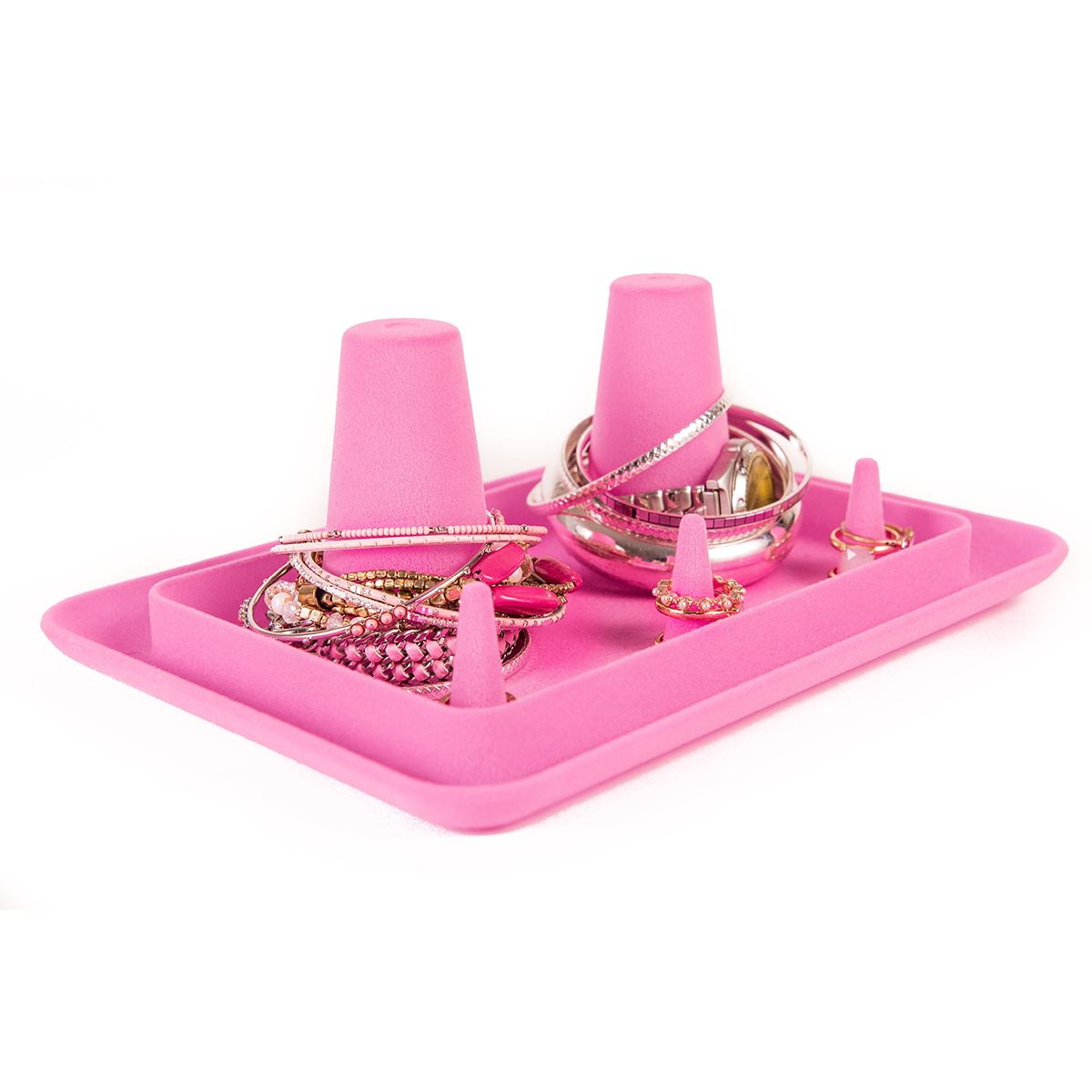 Pink Velvet Bangle Stacker Jewelry Organizing Tray