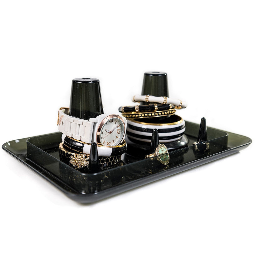 Black Acrylic Bangle Stacker Jewelry Organizing Tray
