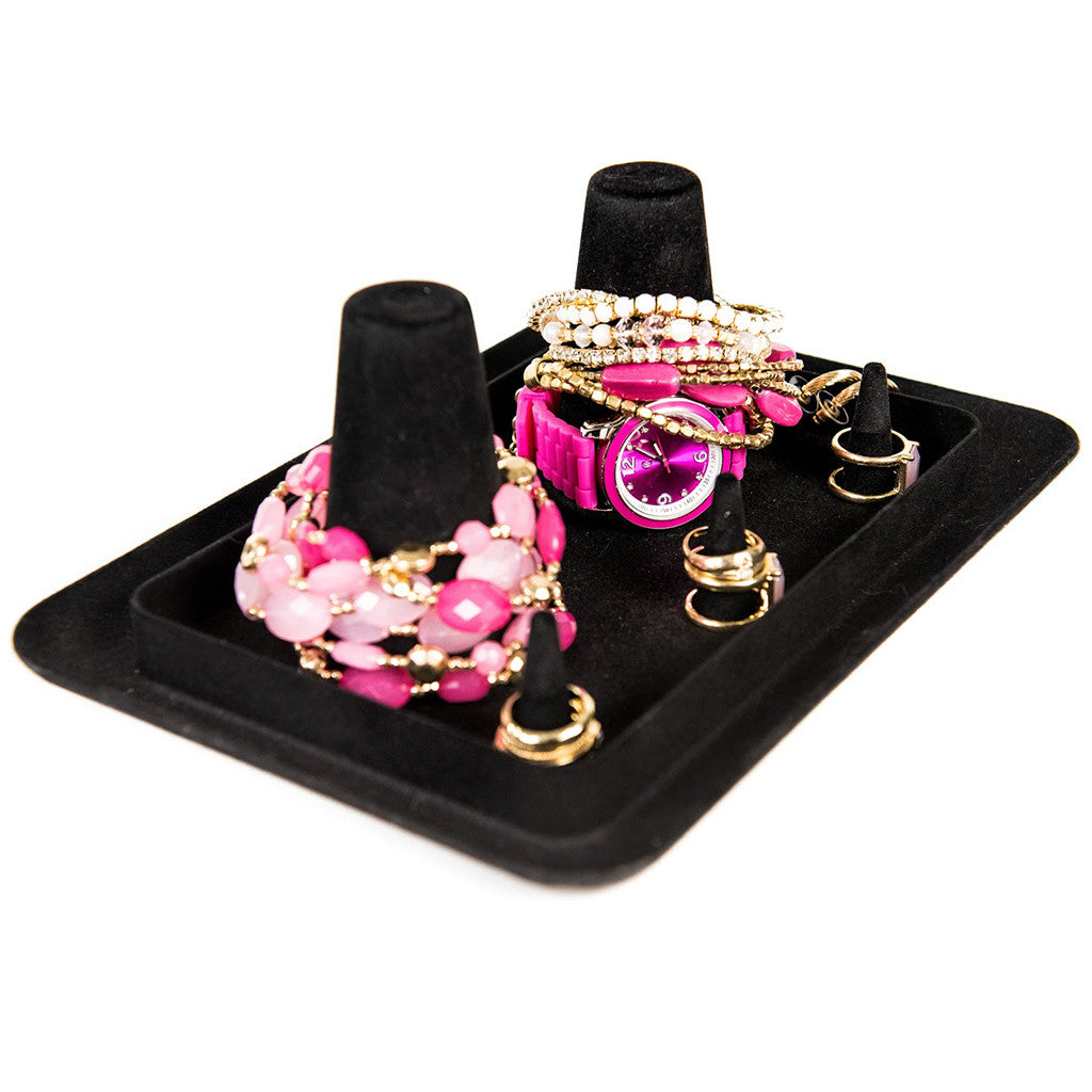 Black Velvet Bangle Stacker Jewelry Organizing Tray
