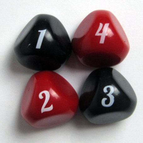 Rollable 4-Sided Dice - Alternative Font - ( Four Dice )