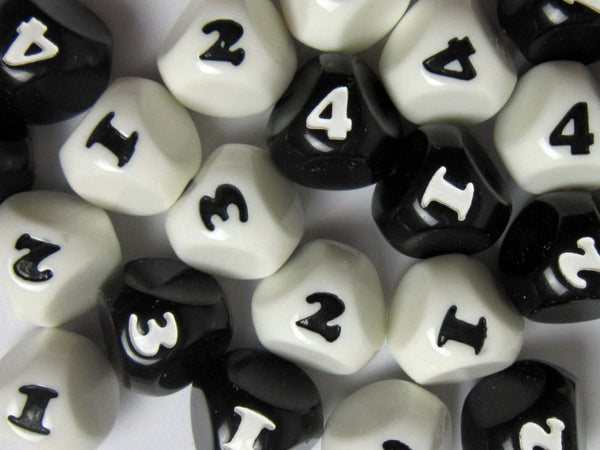 Rollable 4-Sided Dice - Black & White - ( Two Dice )