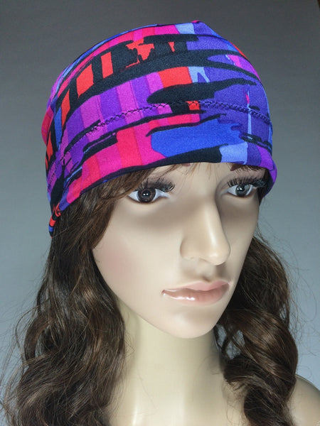 Purple/Red Abstract Print Hat