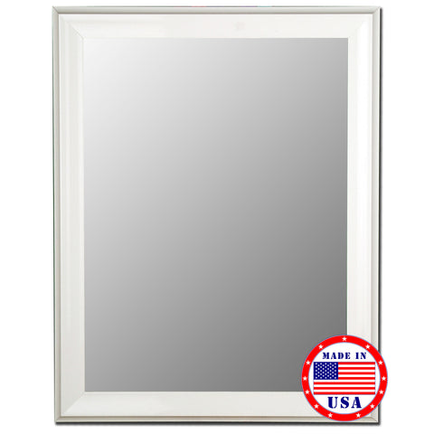 Glossy White Grande Framed Wall Mirror