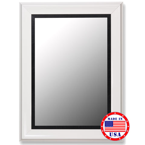 Glossy White Grande & Executive Black Liner Framed Wall Mirror