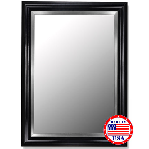 Glossy Black Grande & Stainless Liner Framed Wall Mirror