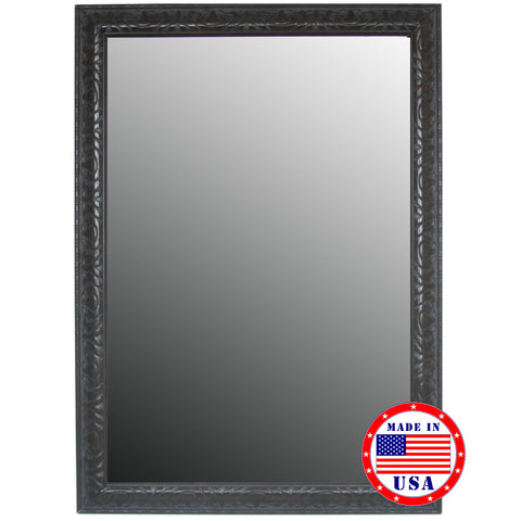 Classic Aged Mahogany Accented in Nuetral Tones Framed Wall Mirror