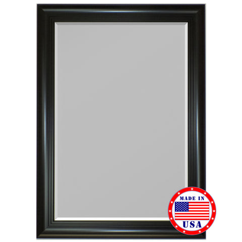 3 Step Satin Black Framed Wall Mirror