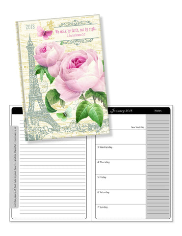 "2018 Perfect Planner- ""We Walk By Faith"" Roses in Paris- 18 Month"