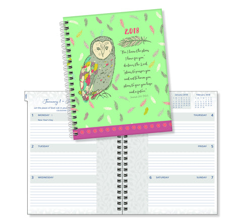"2018 Ultimate Planner -""For I Know The Plans"" Owl- 17 Month"