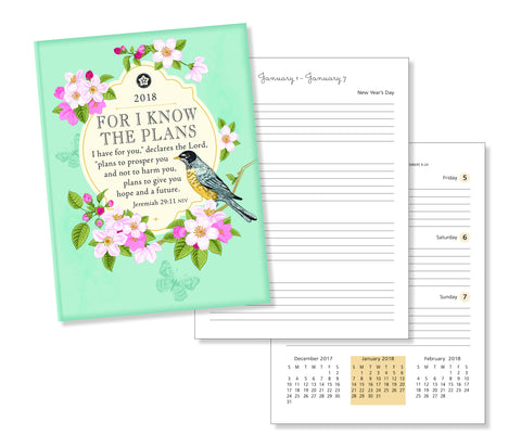 "2018 Weekly Planner- ""For I Know The Plans"" Robin and Floral- 18 Month"