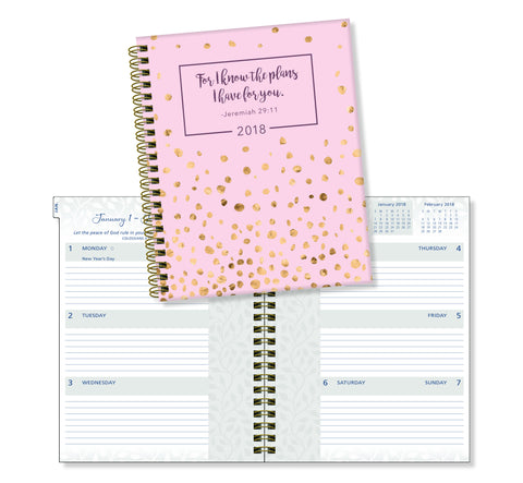 "2018 Ultimate Planner- ""For I Know The Plans"" Blush with Gold Confetti-17 Month"
