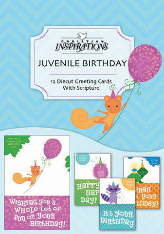 Cute Critters Juvenile Birthday boxed card set with scripture