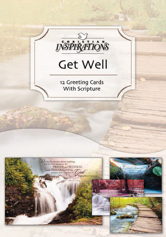 Waterscapes get well boxed card set with scripture