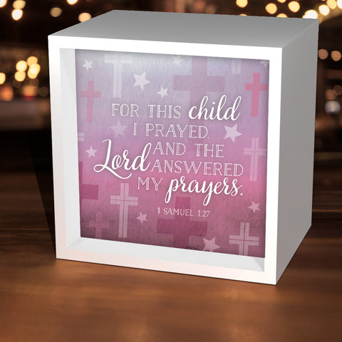 "Pink ""For This Child I Prayed"" Lightbox"