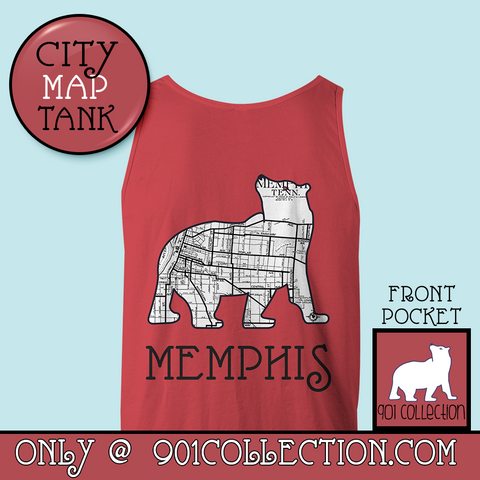 Pocketed City Map Tank Top Crimson
