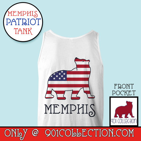 Pocketed Patriot Tank Top White