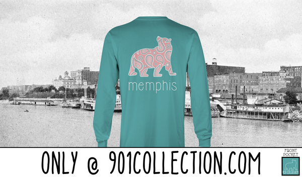 Pocketed Paisley Bear Seafoam LS