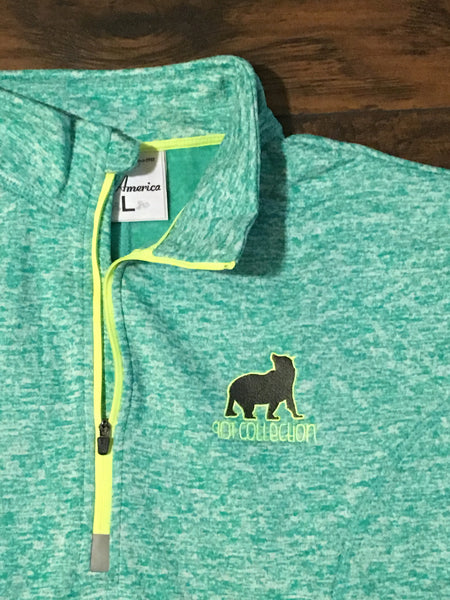 Ladies' Embroidered Electric Seafoam Quarter Zip