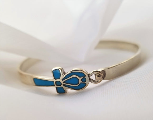 Silver and Turquoise Ankh Bangle