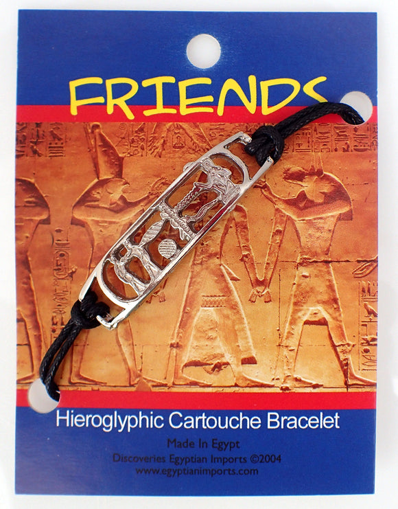 Pewter Cartouche on leather bracelet - FRIENDSHIP