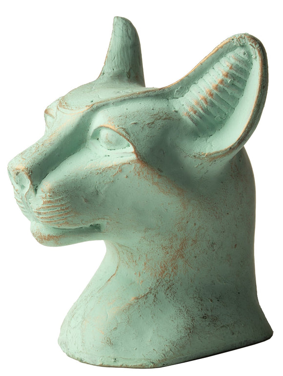 Bastet Cat Bust Patina Sm - 3.5