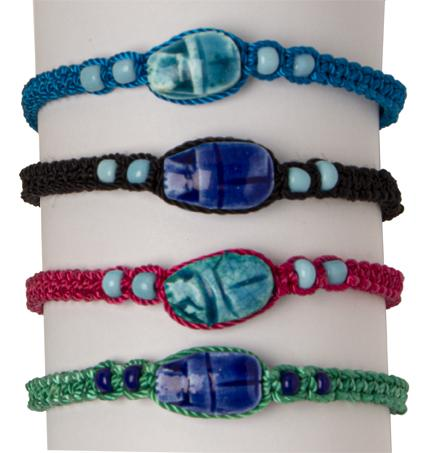 Colorful Macrame Scarab Bracelet - Ass't