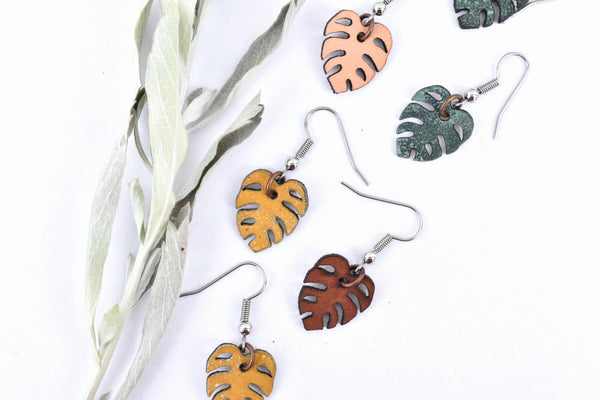 Mini Monstera Leaf Earrings