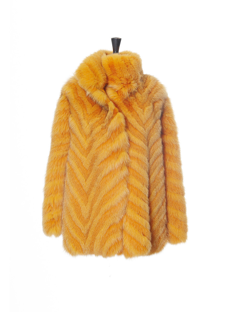 Yellow Striped Fox Jacket - Elena Benarroch - Fur - TOPGEARNY