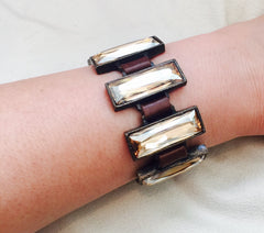 Rectangle Crystal Leather Bracelet, Vintage Brown - Rebel Designs - Bracelet - TOPGEARNY