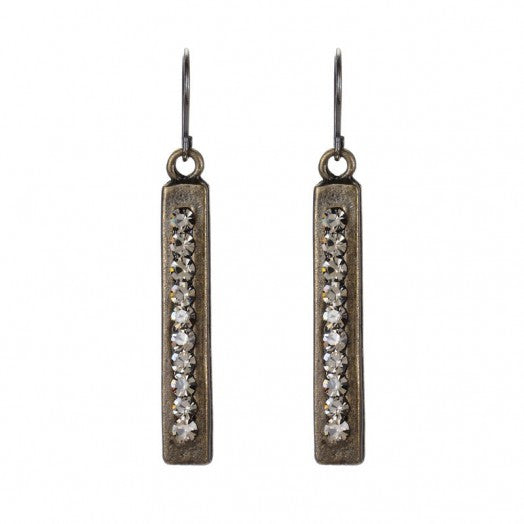 Double Sided Rectangular Earring Black Diamond