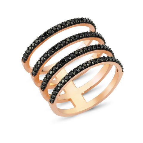 Sterling Silver Black Four Lines Ring in Rose Gold