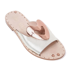 Heart Leather Slides