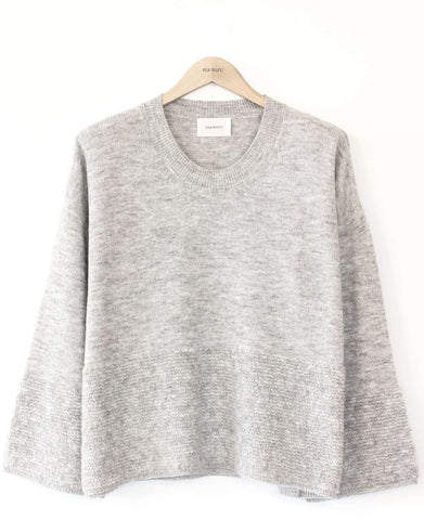 Long Sleeve Crew Neck Sweater with Boucle Bottom
