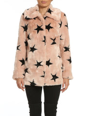 Faux Fur Swing Coat with Stars
