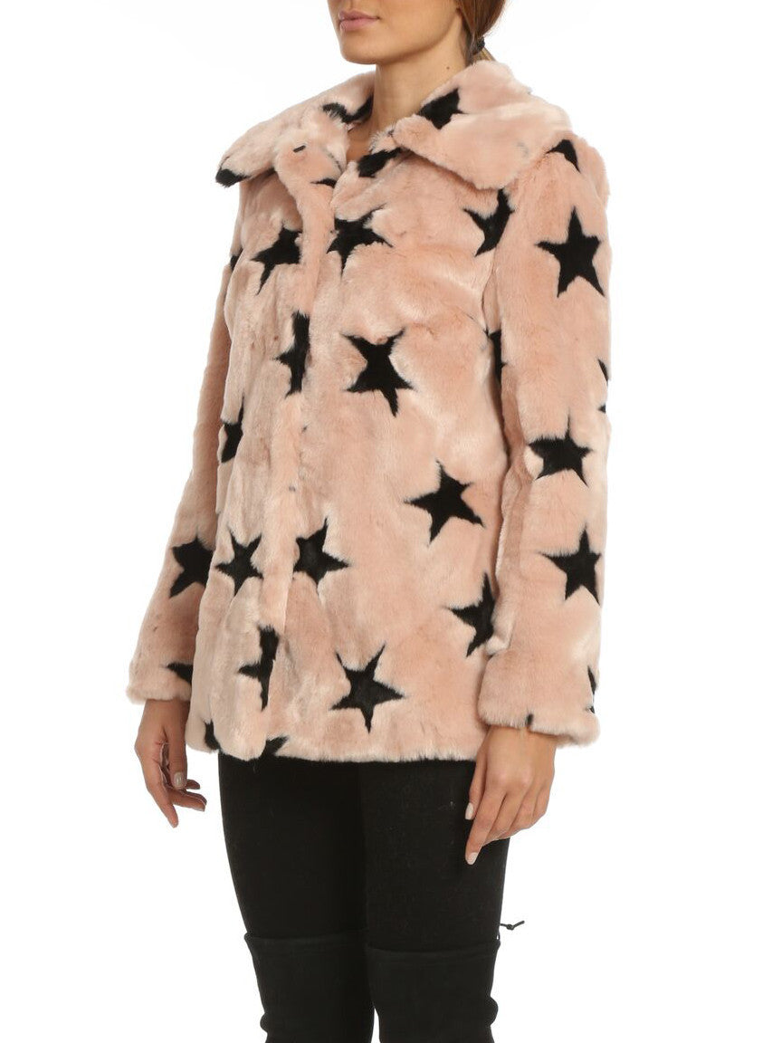 Faux Fur Swing Coat with Stars - Bagatelle - Coat - TOPGEARNY