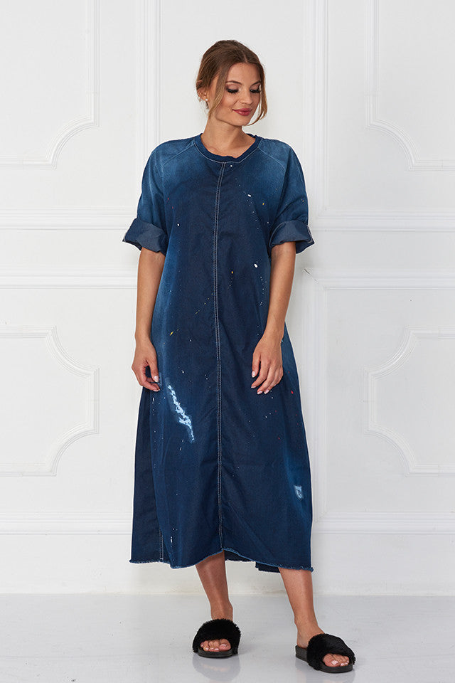 Bimo Queen Denim Oversize Pullover Dress w/Screen Print - Sugarbird - Dress - TOPGEARNY